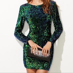 Green/blue long sleeve sequin bodycon dress